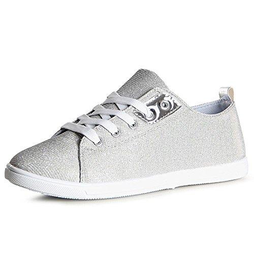 eb1d608dfa6f34 topschuhe24 1093 Damen Sneaker Turnschuhe Glitzer Silber -chirurgie ...