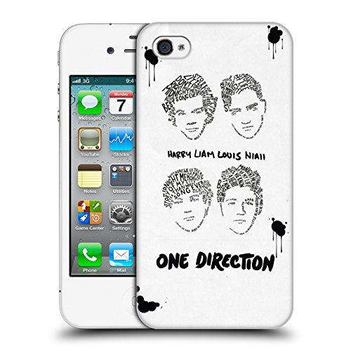 Head Case Designs Offizielle One Direction Gruppe Weiss BG Text Illustration Faces Harte Rueckseiten Huelle kompatibel mit iPhone 4 / iPhone 4S