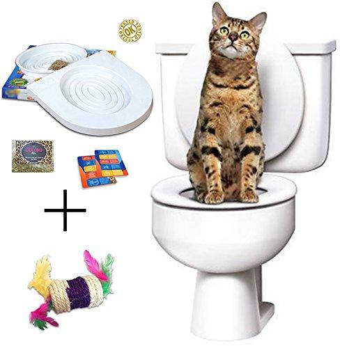 Ducomi Bobo - Kit para el Entrenamiento de Gatos - Entrene a su Mascota a Usar el Inodoro - Útil Alternativa del Arenero - Práctico WC para su Gato (Adiestramiento + Juego)