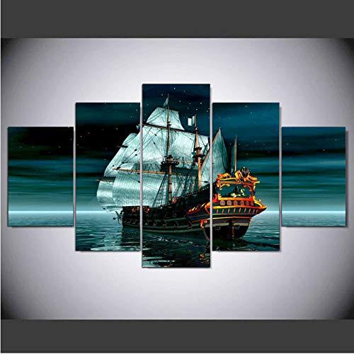 mgdtt Moderne Wanddekor Bild, Hd Print 5 Panel Schiff Boot Leinwand Kunst Seascape Malerei Bilder, Wand Poster Für Wohnzimmer-30X40Cmx2/30X60Cmx2/30X80Cmx1 - Boot Leinwand Kunst