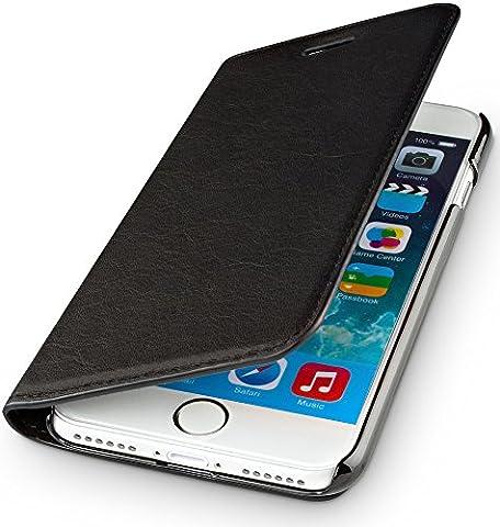 WIIUKA Echt Ledertasche TRAVEL NATURE Apple iPhone 6S und iPhone 6 DEUTSCHES-LEDER Schwarz mit Kartenfach extra Dünn Tasche Premium Design Leder Hülle