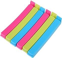 K.T.S BPA-Free Plastic Food Snack Bag Pouch Clip Sealer (Multicolor) - 18 Pieces