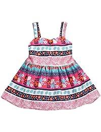 Fossen Verano 1-5 años Niñas Sin Mangas Vestidos a Rayas con Encaje Dobladillo de Fiestas