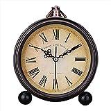 """Japace® 5"""" sveglia vintage silenziosa da comodino orologi da tavolo antica analogica, senza ticchettio - numeri romani"""