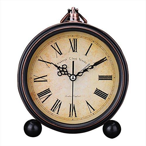 Japace 5' sveglia vintage silenziosa da comodino orologi da tavolo antica analogica, senza ticchettio - numeri romani