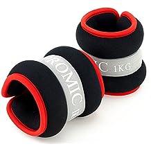 PROMIC - Pesas de resistencia para piernas y muñecas, unisex, con correa de velcro ajustable, juego de 2 unidades, 2 x 1kg - Black