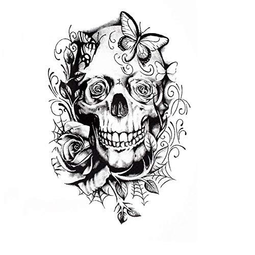 Justfox - tatuaggio temporaneo teschio rose design temporary klebetattoo corpo arte