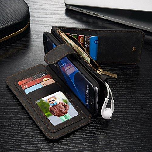 CaseMe Safari Étui à rabat magnétique portefeuille en cuir véritable avec grand compartiment à fermeture éclair support 13emplacements pour carte de crédit et cadre photo, Cuir, noir, for iPhone 6/6s noir