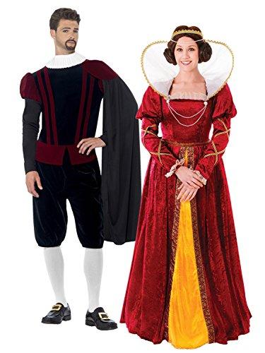 Paare Queen Elizabeth Tudor und Herr Kostüm-Set
