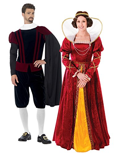 Zubehör Kostüm Elizabeth Queen - LADIES QUEEN ELIZABETH COSTUME & MENS TUDOR LORD BUNDLE - LARGE