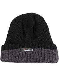 THINSULATE BEANIE HAT 3M 40g CHUNKY KNIT TURN UP & FLEECE LINED