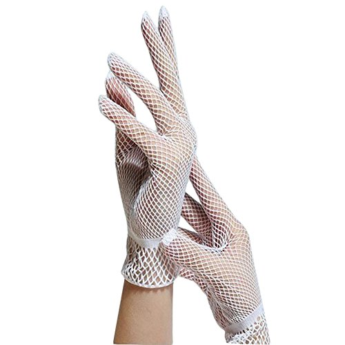 Lubier 1Paar Damen Fischnetz Handschuhe kurz Vintage Hochzeit Handschuhe Kleid Fäustlinge Damen Full Finger Bridal Handschuhe Hohl Sommer Sonnenschutz Kurze Handgelenk Länge Schwarz und Weiß weiß