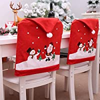 Christmas Santa Claus Chair Cover Snowman Dinner Table Party Decor Christmas Dining Slipcovers Kitchen Chair Covers Decoration for Holiday Party Festival(60×49cm)