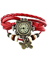 Access-O-Risingg Orange Non-Precious Metal Multiband Watch Bracelet With Butterfly Charm For Girls