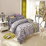 200tc minimalistische style + pure cotton + pflanze blumen + vier sets(1quilt cover +1bett don +2kissenbezug)-G King