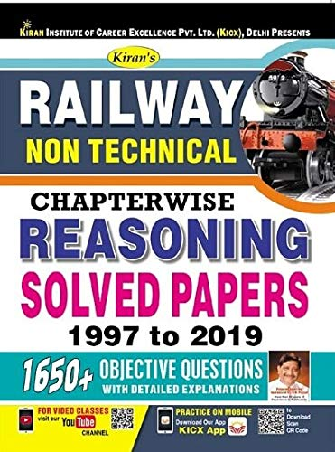 Kiran Railway Non Technical Chapterwise Reasoning Solved Papers 1997 to 2019 English (2820)