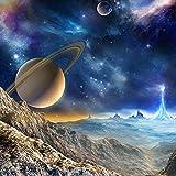 LONGYUCHEN Tapete Des Wand-3D Für Wand-Weltraum-Planeten-Erstaunliche Astronomie-Welt Fertigen Foto-Silk Wand-Papier Für Wohnzimmer-Sofa-Hintergrund Besonders An,160Cm(H)×250Cm(W)