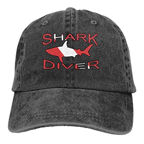 Hoswee Unisex Kappe/Baseballkappe, Shark Diver Flag Men/Women Fashion Adjustable Baseball Cap Jeanet Back Closure Sport Hat