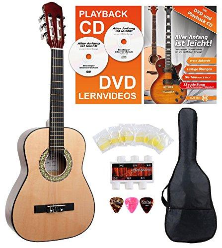 E-starter-gitarre (Classic Cantabile AS-851 1/2 Konzertgitarre Starter Set (Komplettes Anfänger Set mit Klassik Gitarre, Gigbag Tasche, Nylonsaiten, Lehrbuch/Schule inkl CD und DVD, 3x Plektren und Stimmpfeife))