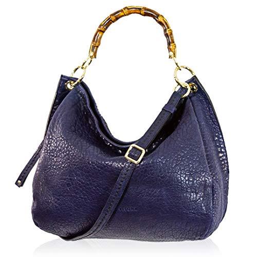 VISONÀ Plinio Damen Handtasche Extra Large Italienische Designer-Handtasche aus echtem Leder Griff Umhängetasche Hobo im französischen Marineblau-Design mit Bambusgriffen -