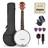 Vangoa - Ukelele banjo de concierto de 23 pulgadas con 4 cuerdas de madera de sapele banjolele...