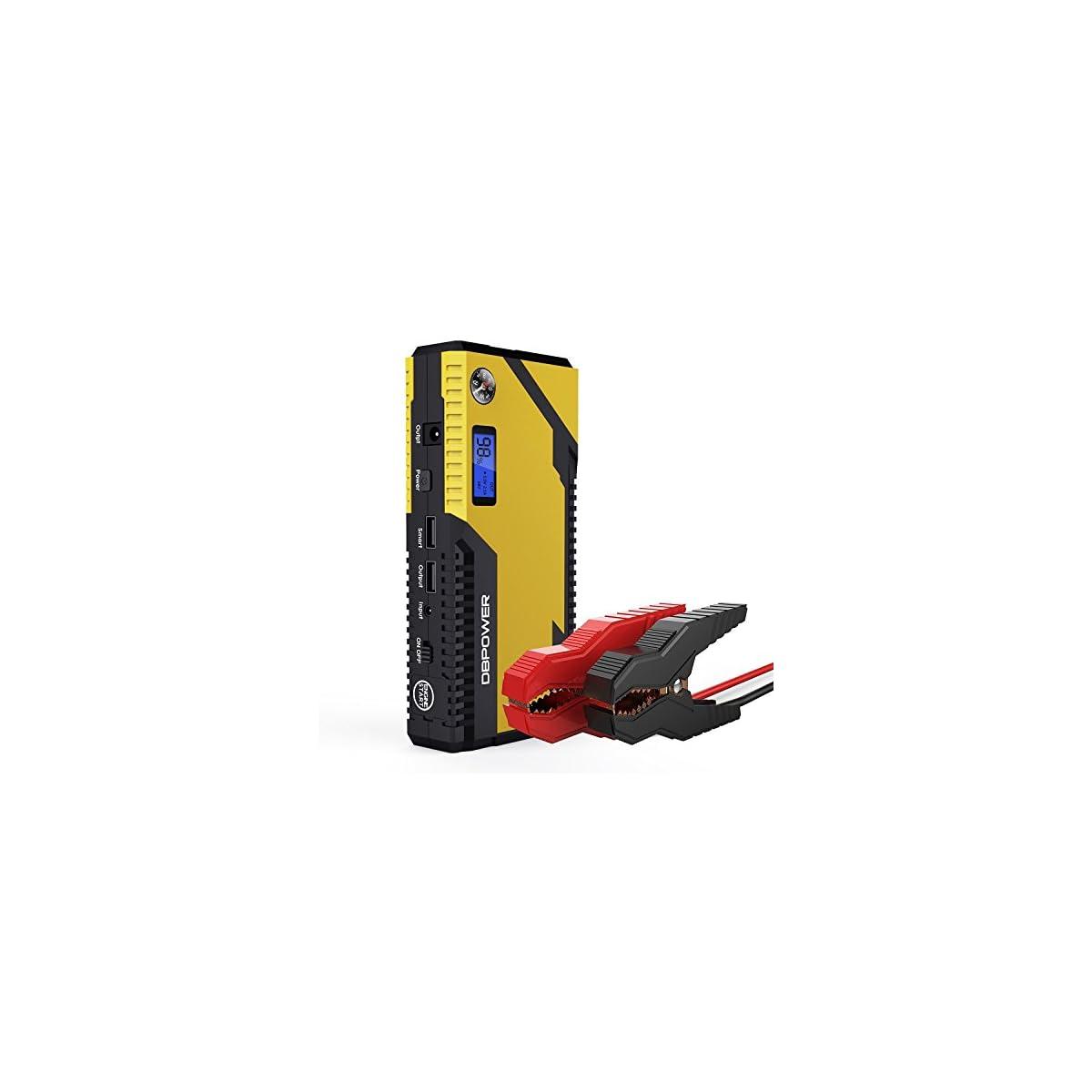 51FRCrm9IbL. SS1200  - Arrancador de batería portátil para coches DBPOWER® 500A 12000mAh, batería de emergencia, doble puerto USB, linterna LED y brújula.