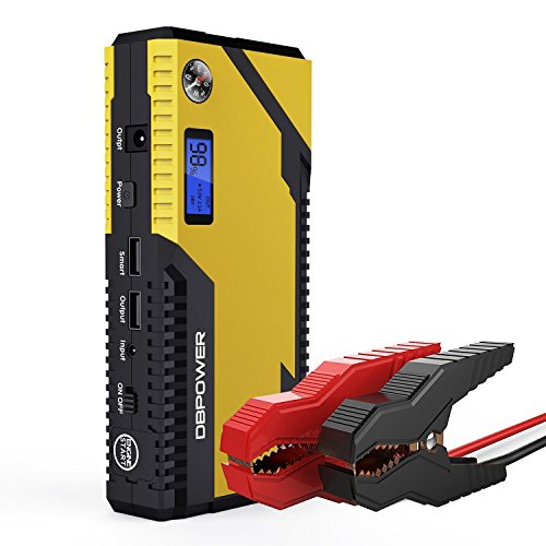 DBPOWER 500A 12000mAh Portable Car Jump Starter, Emergency Battery Booster Pack with Dual USB Charging Outputs, LED Flashlight, and Compass