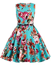 Kate Kasin Girls Sleeveless Round Neck Vintage Retro Cotton Floral Dresses