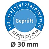 Avery Zweckform 6952 Prüfplaketten (80 Prüfaufkleber aus Vinyl, Geprüft, 2019-2024, Ø 30 mm, im praktischen Block) blau