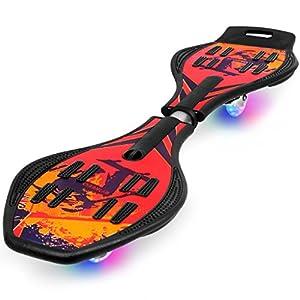 Enkeeo - Waveboard con PU ruedas de iluminación (Tabla de ABS material reforzado, resistencia 220lbs, para entrenamiento, ejercicio de equilibrio) Rojo