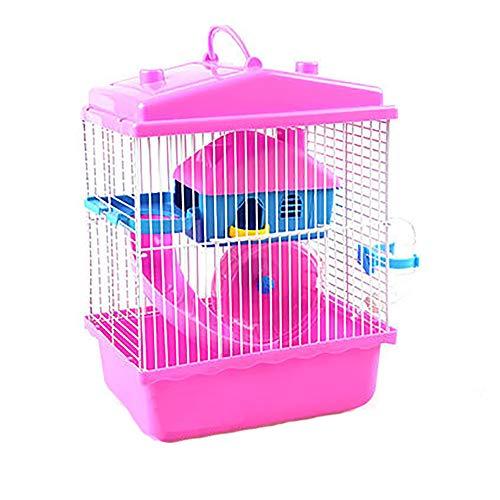 NJSD Kleintierkäfig, Hamsterkäfig, Umweltfreundliches Material, Zweilagiger Hamsterkäfig, Tragbarer Käfig, Komplette Innenausstattung, Geeignet Für Kleine Haustiere Wie Hamster,Pink