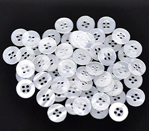 4-knopf-weißes Kleid Anzug (Bingpong 1000 stücke 9mm/10mm/11,5mm/12,5mm 4 Löcher Runde Harz Hemd Knöpfe für Kleidung Nähen Scrapbooking Handgemachte Handwerk Ornament Zubehör (Weiß, 9mm))