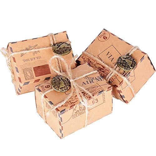 Lazeny 50x Geschenkbox Favor Box mit Anhänger Kraftpapier Rustikal Luftpost Süßigkeiten Box Gastgeschenk Bonboniere Box für Hochzeit Geburtstag Babyparty Taufe Kinder Party Weihnachten Tischdeko-Erde