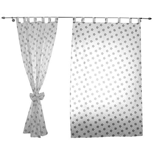 derzimmer Vorhänge mit Schlaufen und Schleifen 155x95 cm Dekoschal Schlaufenschal , Farbe: Weiß / Graue Sterne, Größe: ca. 155x95 cm (Dekoration Mit Gardinen)