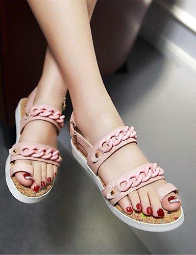 LFNLYX Chaussures Femme-Habillé / Décontracté / Soirée & Evénement-Noir / Bleu / Rose / Blanc-Talon Plat-Confort-Sandales-Similicuir Pink