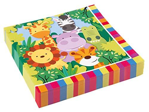 amscan 9901915 20 Servietten Dschungel Tiere, - Dschungel Tag Kostüm