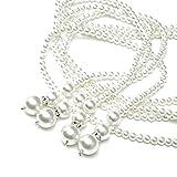 Metme Damen Vintage 1920er Jahre Gatsby Flapper lange Perlenkette Zubehör für Party (Silber)
