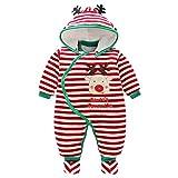 Baby Overall Mit Kapuze Füßlinge Strampler Schneeanzüge Karikatur Jumpsuit Unisex Winter Kleidungsset, 9-12 Monate