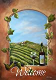 Toland Home Garden Vineyard View Welcome 12,5 x 18 Rustikal Winery Fenster Wein Flasche Garten Flagge