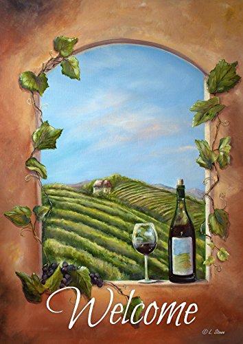ineyard View Welcome 12,5x 18Rustikal Winery Fenster Wein Flasche Garten Flagge (Garden Flag)