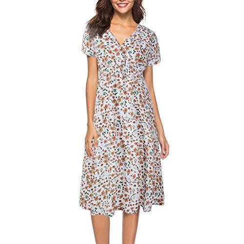 Damen Chiffon Kleider V-Ausschnitt Sommerkleid Einfarbig Rundhals Kurzarm Plissee Kleid Casual Lose Kleid - Metal Mayhem Kostüm