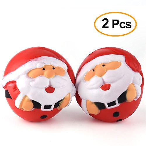 Kuuqa 2 Pièces Santa Claus Squishies Noël Squishy Jouets de Noël Cadeau pour Enfants Adultes Squishy Squeeze Stress Ball Jouets Arbre de Noël Ornement Party Favors