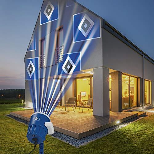 Preisvergleich Produktbild Hamburger SV Logo Projektor Fanartikel / LED-Motivstrahler HSV-Logo / HSV Beleuchtung für Hamburg Supporter (blau / weiß)