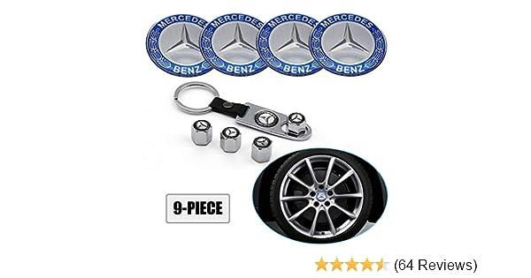 Lisha 9-Piece Set 65mm Car Wheel Center Cap Cover Logo Emblem Sticker for Mercedes Benz Matching with Tire Valve Stem Caps and Keychain for Mercedes Blue