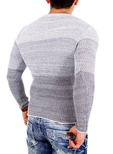 Reslad Strickpullover Herren Color-block Winter Pullover RS-3106 Grau