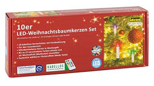 Idena 31107 - 10 Stück LED Christbaumkerzen zum Klemmen, multicolor, ca. 9 cm, verschiedene Modi, mit 4 oder 8 Stunden Timer Funktion, Batterie betrieben, mit Fernbedienung -
