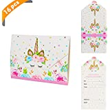 Yiran Unicorn Girls Party Invitations - Pink and Gold Envelopes Style Ready to Write (Pack 16)