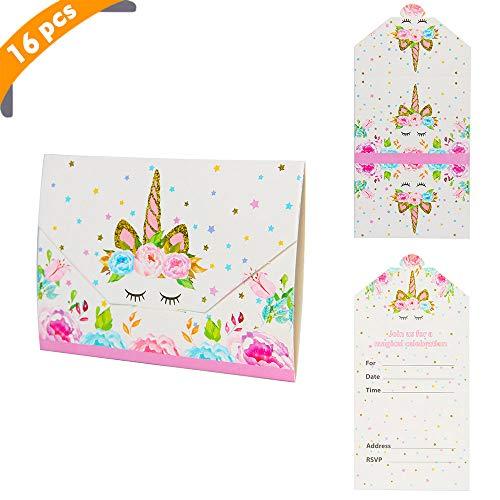 YiRAN 16x EINLADUNGEN zum Geburtstag Party Einhorn/Unicorn Einladungskarten zur Party/Einladungskarten Kindergeburtstag,Briefumschläge Stil bereit zum Schreiben