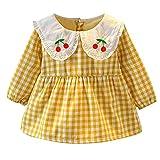 Kobay Babykleid Festlich Neugeborenes Baby Mädchen Langarm Kirschdruck Plaid Kleid Outfit Kleidung(12-18M,Gelb)