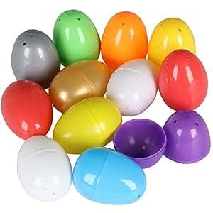 12 x Uova Pasquali Colorate Vuote da Riempire con Una Sorpresa - Plastica - per la Caccia Alle Uova di Pasqua - da TRIXES